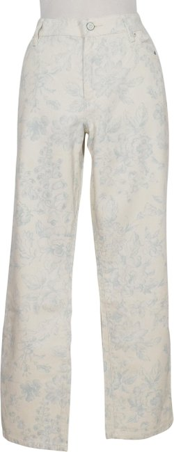 Item - Beige Blue Floral Stretch Modern Ankle 12 Straight Leg Jeans Size 34 (12, L)