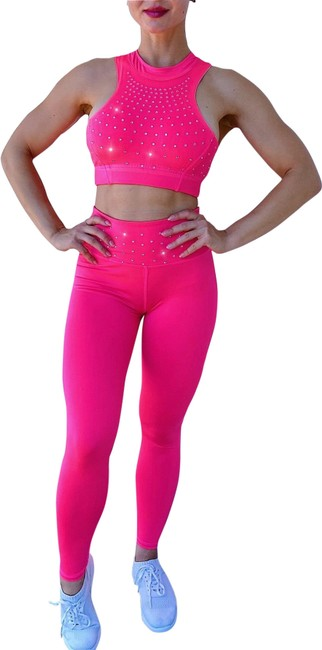 Item - Pink 2 Piece Outfits Leggings Bra Yoga Set Gym Fitness Workout Activewear Sportswear Size 8 (M, 29, 30)
