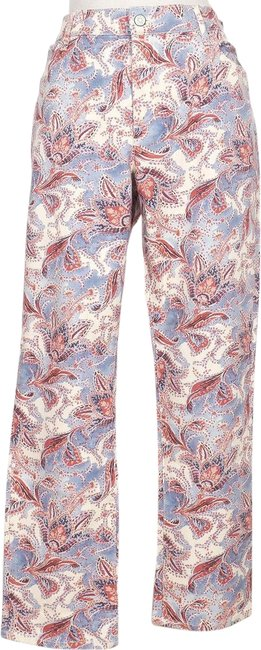 Item - Beige Blue Red Paisley Stretch Modern Ankle 10 Straight Leg Jeans Size 33 (10, M)