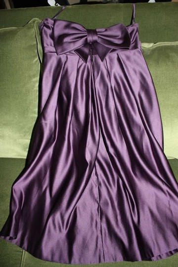 Melissa Sweet Eggplant; Deep Purple Polyester Strapless Cocktail Length Party Feminine Bridesmaid/Mob Dress Size 4 (S)
