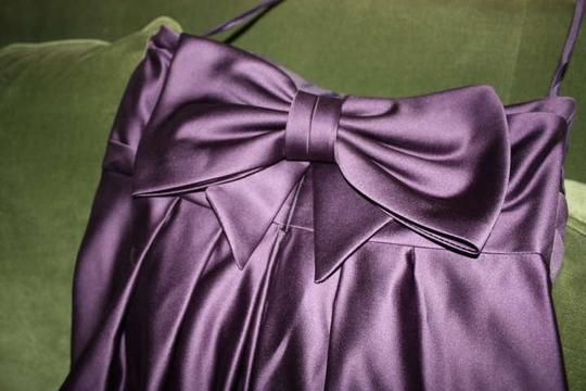 Melissa Sweet Eggplant; Deep Purple Strapless Cocktail Length Party Dress