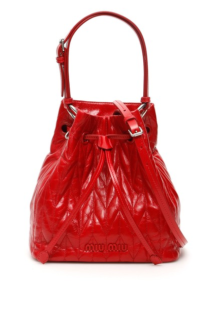 Item - Bucket Bag Quilted Calfskin Red Tote