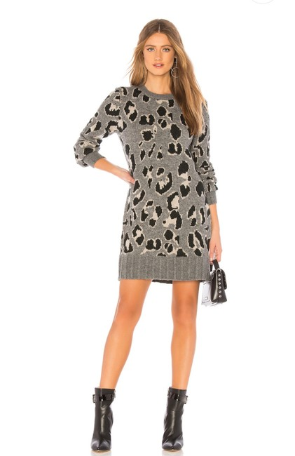 Item - Speak Up Charcoal Leopard Sweater Short Casual Dress Size 4 (S)