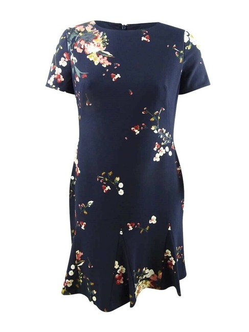 Item - Blue Womens Navy Printed Crepe Short Sleeve Chron Mid-length Work/Office Dress Size 8 (M)