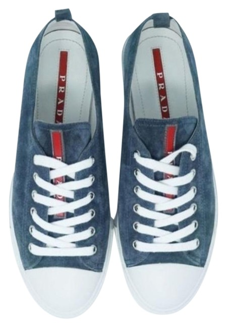 Item - Blue Gray Cap Toe Low Top Leather Calzature Donna Scamosci Sneakers Size EU 39.5 (Approx. US 9.5) Regular (M, B)