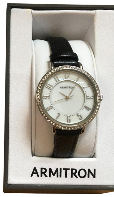 Item - Black Leather and Crystal Watch
