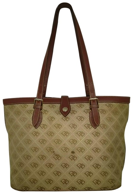 Item - Monogram Signature Leather Trim Brown Canvas Tote