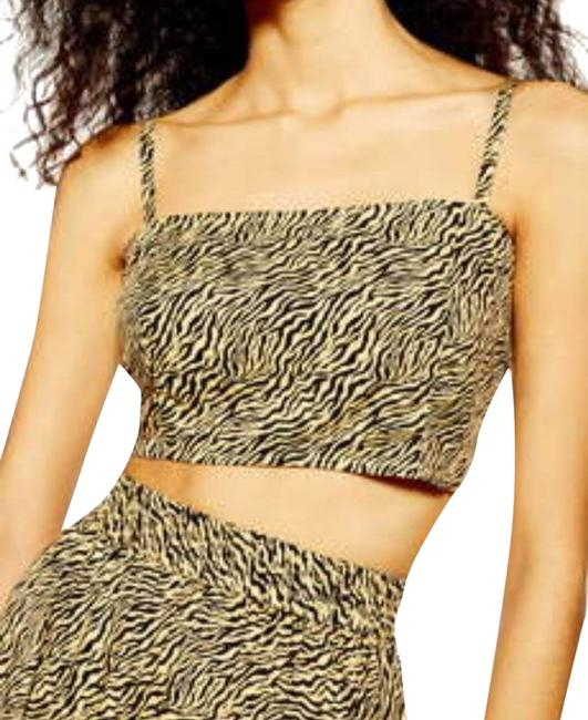 Item - Black Orange Twist Tiger Print Crop Knot Tank Top/Cami Size 12 (L)