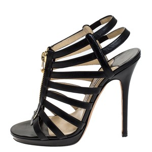 Jimmy Choo Leather Platform Black Sandals