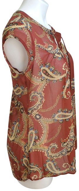 Item - Brown Dr2 Paisley Printed Tassel Tie Neck Blouse Size 2 (XS)