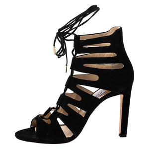 Jimmy Choo Suede Leather Black Sandals