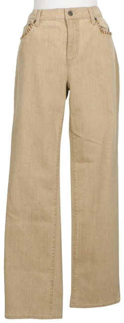 Item - Tan Stretch Classic Faux Leather 12 Straight Leg Jeans Size 34 (12, L)