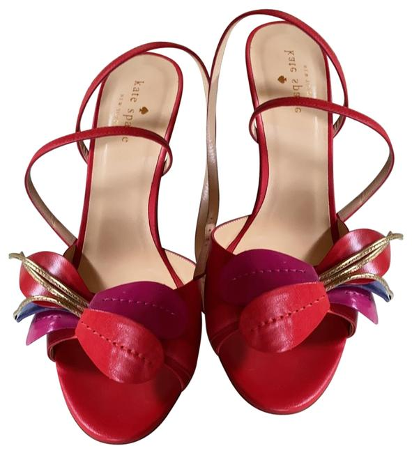 Item - Red Magenta and Gold Flower Accent Leather Dress Sandals Formal Shoes Size US 7.5 Regular (M, B)