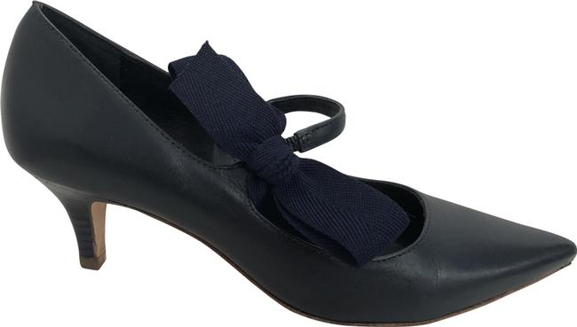 Item - Navy Blue W Leather Pointed Toe W/ Bow Accent Kitten Heels Pumps Size US 6.5 Regular (M, B)