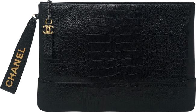 Item - Embossed Croc Black Clutch