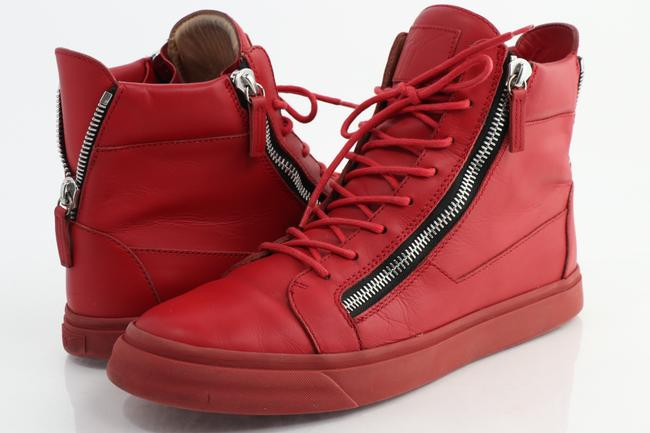 Item - Red Double Zip Leather High-top Sneakers Shoes