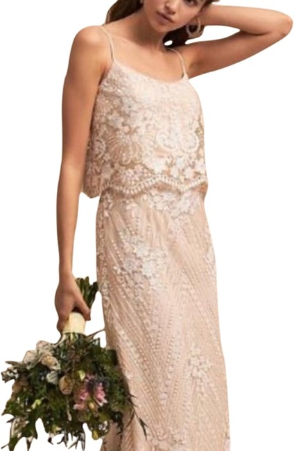 Item - Cream Pink Anthropologie Adrianna Papell Arden Long Formal Dress Size 6 (S)