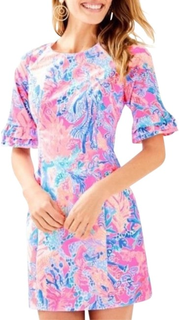 Lilly Pulitzer Pink Blue Fiesta Light Pascha Short Casual Dress Size 0 (XS) Lilly Pulitzer Pink Blue Fiesta Light Pascha Short Casual Dress Size 0 (XS) Image 1