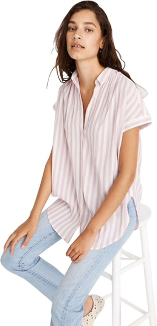 Item - Pink White XS L9174 Central Tunic Shirt In Lavender Stripe Button-down Top Size 2 (XS)