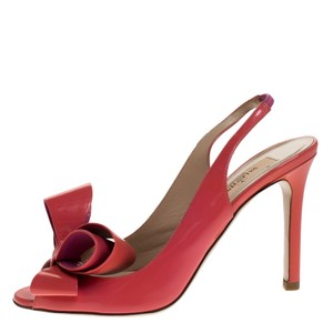 Valentino Patent Leather Slingback Peep Toe Red Sandals