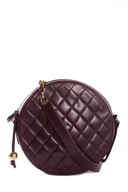 Item - Quilted Lambskin Round with Chain & Leather Maroon Shoulder Bag