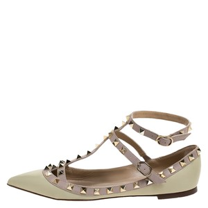 Valentino Leather Ankle Strap Green Flats