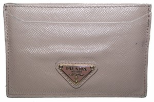 Prada Prada Beige Saffiano Triangle Logo Card Holder