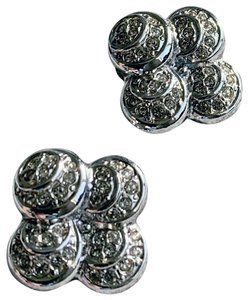 Dior Silver-tone Vintage Crystal Clip-on Earrings