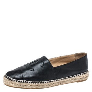 Chanel Leather Espadrille Black Flats
