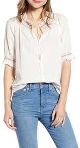 Madewell L4527 Size M Rainbow Smocked Size M Top White