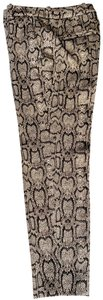 Zara Python Stretchy New Fitted Capri/Cropped Pants Dark brown on Beige