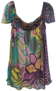 Antik Batik Summer Silk Embellished Breathable Top Purple