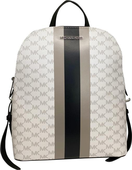 Item - Cindy Large Saffiano White/Black Leather Backpack