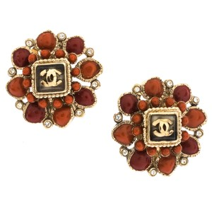 Chanel CC Coral Resin Crystal Embellished Flower Clip-on Stud Earrings