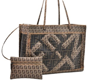 Fendi Luxury Canvas Leather Shoulder Logo Tote in Brown