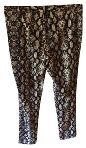 Calvin Klein Snakeskin Zipper Detail Skinny Pants Black and White