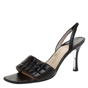 Chanel Leather Slingback Brown Sandals