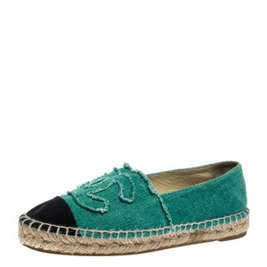 Chanel Canvas Espadrille Green Flats