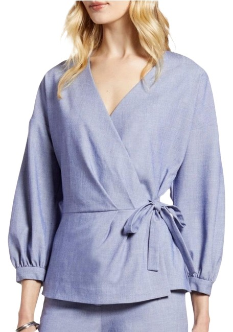 Item - Blue New Chambray Puff Sleeve Blouse Size Petite 6 (S)