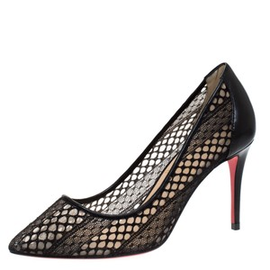 Christian Louboutin Lace Leather Pointed Toe Black Pumps