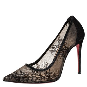 Christian Louboutin Lace Suede Pointed Toe Black Pumps