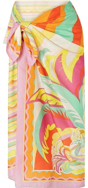 Item - Pink Yellow Orange Green Large Leaf Sun Print Long Pareo Scarf Wrap Cover-up/Sarong Size OS (one size)
