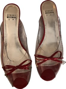 Stuart Weitzman Red patent /clear Wedges