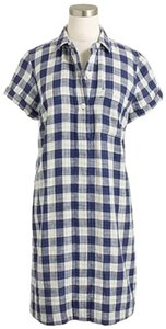 J.Crew short dress Blue White Factory Gingham Plaid Shirt Size S Size S on Tradesy