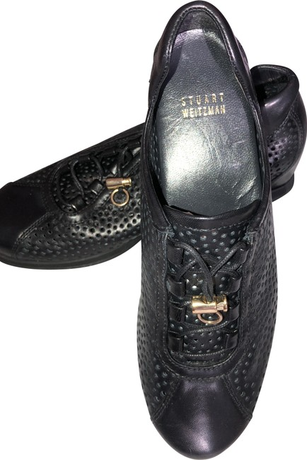Item - Black Leather Casual Sneakers Size US 8 Regular (M, B)