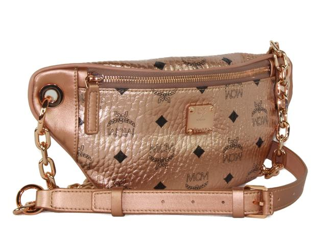 MCM New Mini Logo Pink Coated Canvas and Leather Cross Body Bag MCM New Mini Logo Pink Coated Canvas and Leather Cross Body Bag Image 1