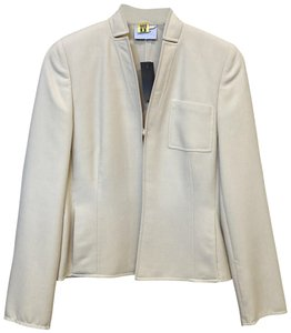 Akris Tailored Cropped Polished Work Cream Jacket