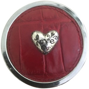 Brighton Pill Box with Heart and Red Leather