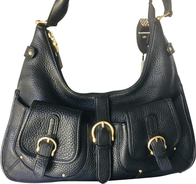Item - Was Used In Fashion Show 1 X Like New Pebble Black and Gold Leather Satchel