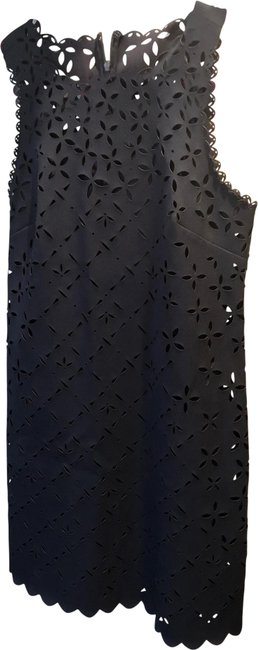 Item - Navy Laser-cut Eyelet with Slip Mid-length Cocktail Dress Size 6 (S)